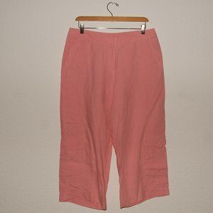 EILEEN FISHER Flamingo Cropped Cargo Linen Pants M